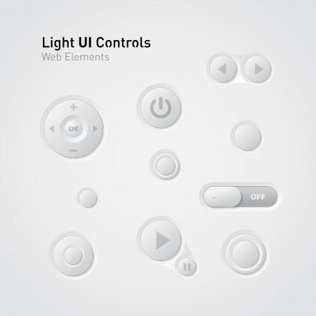 pause button: Light UI Controls Web Elements  Buttons, Switchers,