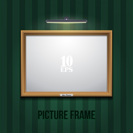 Picture Frame Golden On Wall With Green Wallpapers Vector