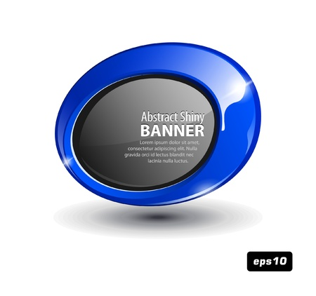 space television: Shiny Blue Plastic Round Banner