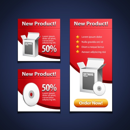 3 Software Banners With Open White Box And CD Disk Red  Products Purchase Button  Vector