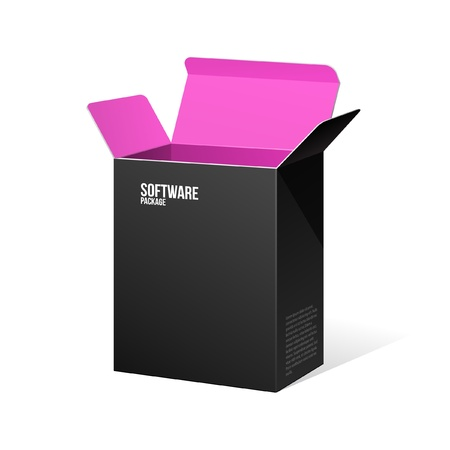 product packaging: Software Package Box Opened Black Inside Pink Violet Purple Illustration