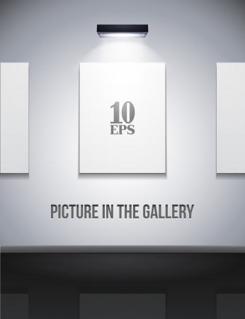 Picture On The Wall With Light In Gallery Grayscale  Stock Vector - 14326500