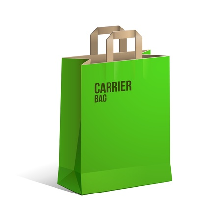 carrier bag: Carrier Paper Recycle Bag Brown And Green Empty Illustration