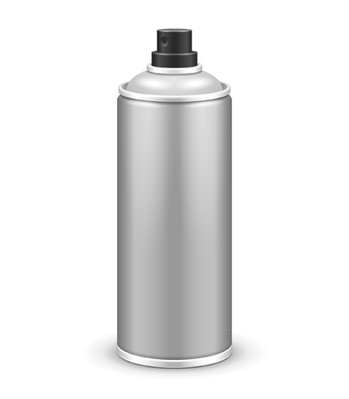Gray Aerosol Spray Metal 3D Bottle Can  Paint, Graffiti, Deodorant Vector