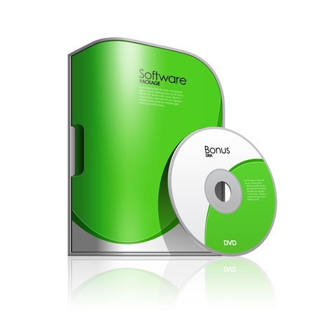 ic�ne logiciel: Forfait Vert Bo�te Software Avec coins arrondis