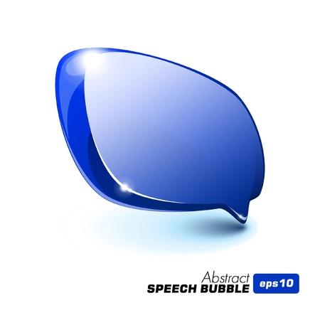 Abstract Glass Speech Bubble Blue Vector