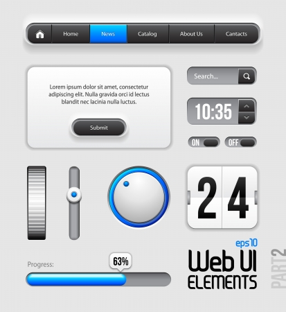 Web UI Elements Design Gray Blue: Part 2 Vector