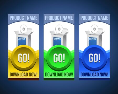 Colorful Software Banner Set With Big Button: Version 2 Vector