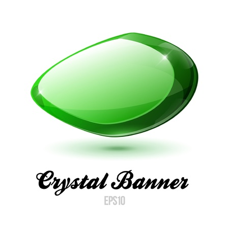 Crystal Shiny Glass Rock Banner Green Vector