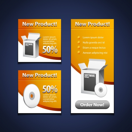3 Software Banners With Open White Box And CD Disk Yellow Orange: Products Purchase Button Vector