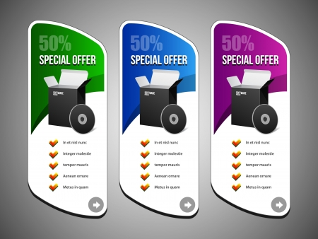 Special Offer Banner Set Colored 12: Blue, Purple, Violet, Green. Showing Products Purchase Button