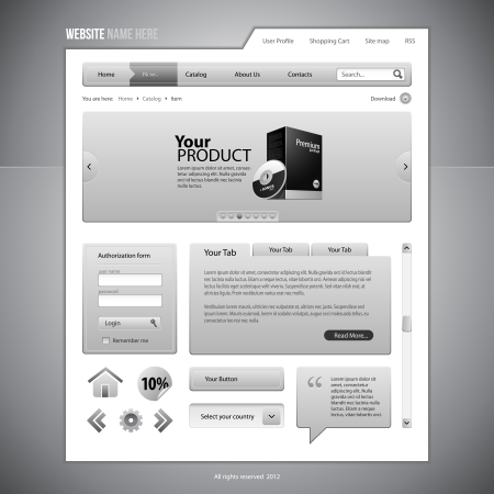 Gray Web Elements Website Design Components: Buttons, Form, Slider, Scroll, Icons, Tab, Menu, Navigation Bar, Login, Speech, Search Stock Vector - 14461583