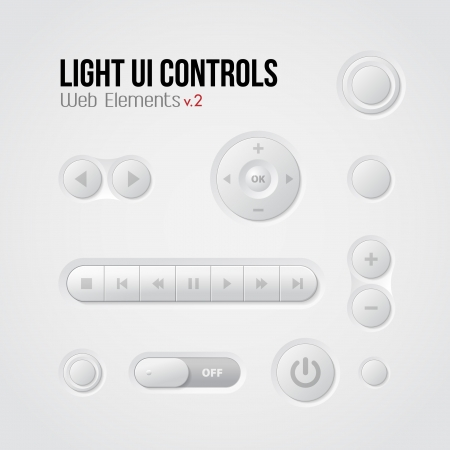 Light UI Controls Web Elements 2: Buttons, Switchers, Player, Audio, Video: Play, Stop, Next, Pause Illustration