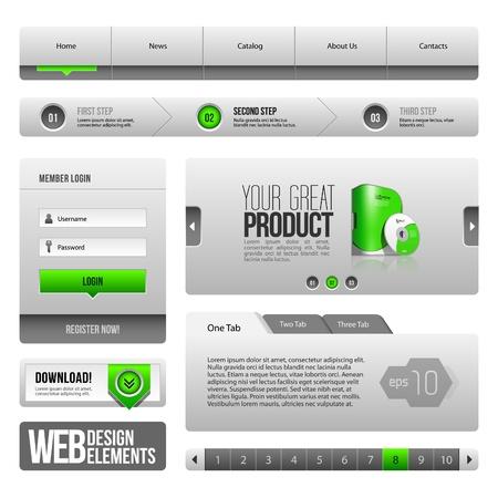 forma: Modern Clean Website Design elemek Szürke Zöld Szürke: gombok, forma, Slider, Scroll, körhinta, ikonok, Tab, Menü, Navigációs Bár, letöltés, lapozás Illusztráció
