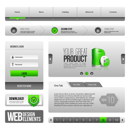 Modern Clean Website Design Elements Grey Green Gray: Buttons, Form, Slider, Scroll, Carousel, Icons, Tab, Menu, Navigation Bar, Download, Pagination Vector