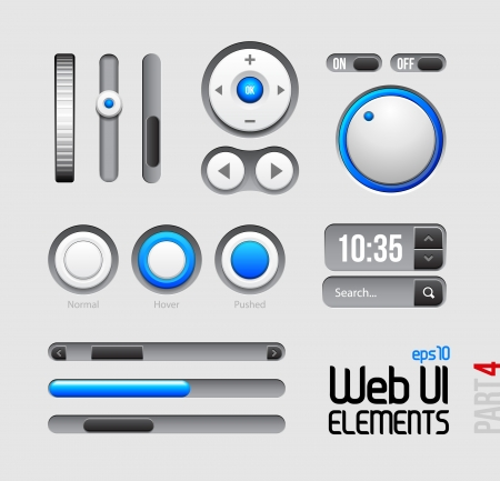 Web UI Elements Design Gray Blue: Part 4 Stock Vector - 14461592
