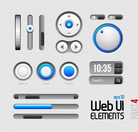 ui: Web UI Elements Design Gray Blue: Part 4 Illustration
