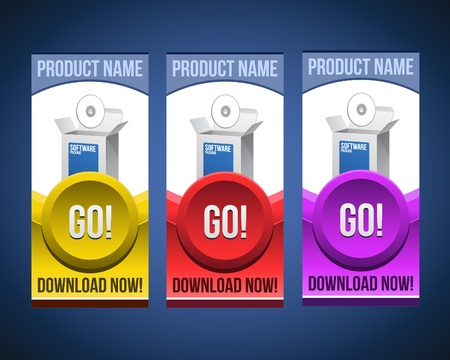 Colorful Software Banner Set With Big Button: Version 3 Vector