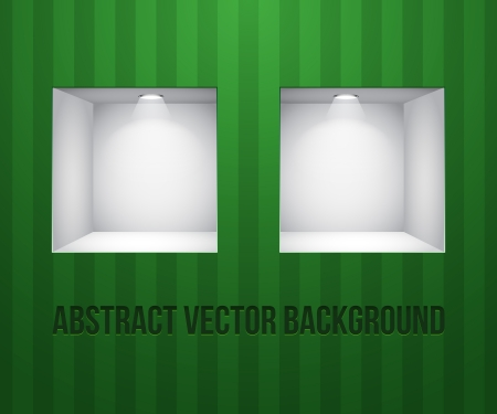 Two Empty Shelves For Exhibit In The Wall Green On Striped Green Wall Vector