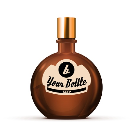 Brown Glass Round Alcohol Bottle Or Perfume Bottle 2 Vector