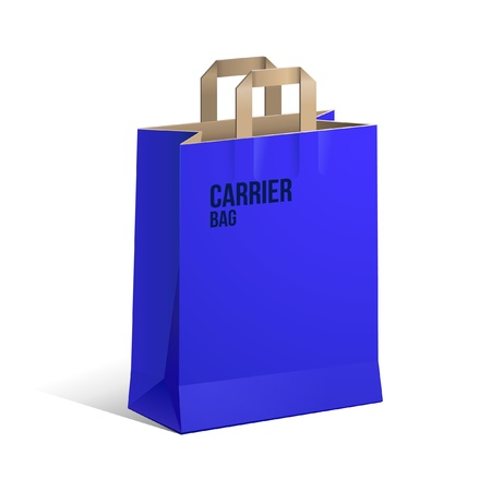 Carrier Paper Recycle Bag Brown And Blue Empty  Vector