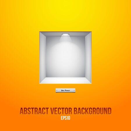 Empty Shelf For Exhibit In The Wall Orange Yellow Stock Vector - 14668532