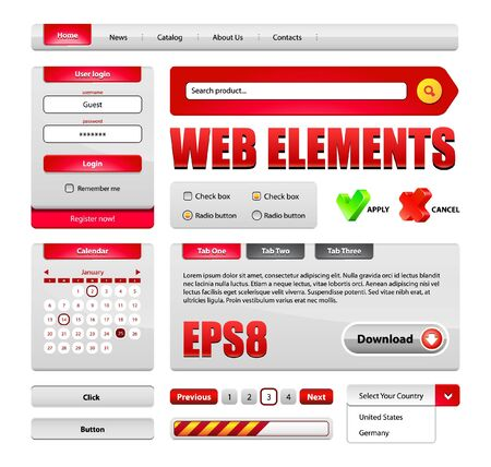 Hi-End Web Interface Design Elements Red Version 2: buttons, menu, progress bar, radio button, check box, login form, search, pagination, icons, tabs, calendar. Vector