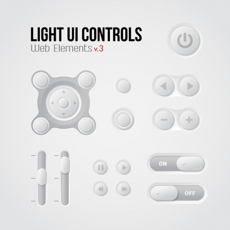 Light UI Controls Web Elements 3: Buttons, Switchers, On, Off, Player, Audio, Video: Play, Stop, Next, Pause, Volume, Equalizer Stock Vector - 14668493