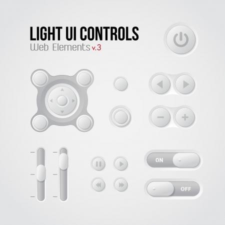 player controls: Luz de la interfaz de usuario Controles Web Elements 3: Botones, conmutadores, encendido, apagado, Reproductor de Audio, Video: Play, Stop, Pause Siguiente, volumen, ecualizador