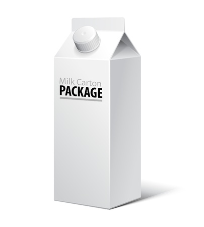 3D Milk Carton Packages Blank White With Lid: EPS10 Vector