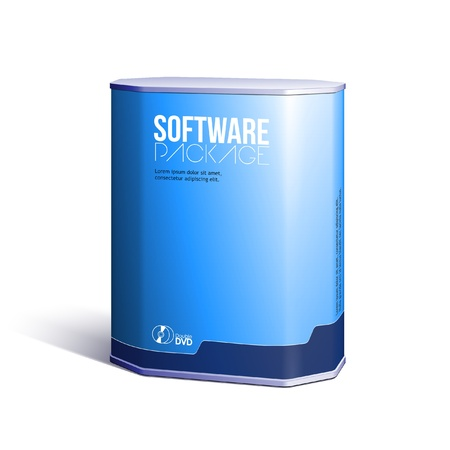 product design: Octagon Plastic Software DVDCD Disk Package Box Blue Illustration
