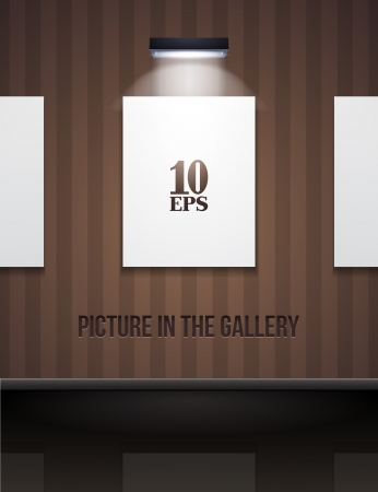 Picture On The Wall With Light In Gallery Brown Stock Vector - 14668543