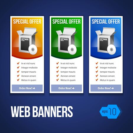 Special Offer Banner Set Vector Colored 13: Blue, Yellow, Orange, Green. Showing Products Purchase Button