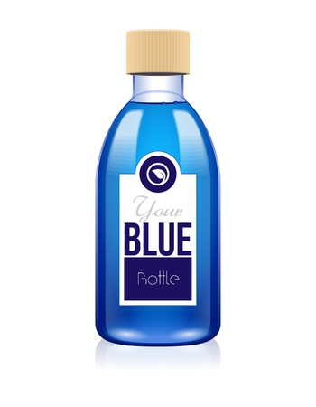 Your Blue Glass Cosmetic Medicine Bottle Of Lotion, Shampoo, Foam, Soap, Perfume, Tincture, Gel Or Drugs: Vector  Vector