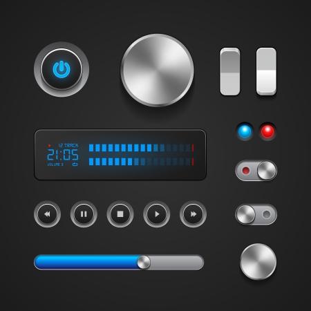 Hi-End Elementos de la interfaz de usuario botones, conmutadores, On, Off, Player, Audio, Video Play, Stop, Pause Siguiente, volumen, ecualizador, potencia, pantalla, Pista Foto de archivo - 14668584