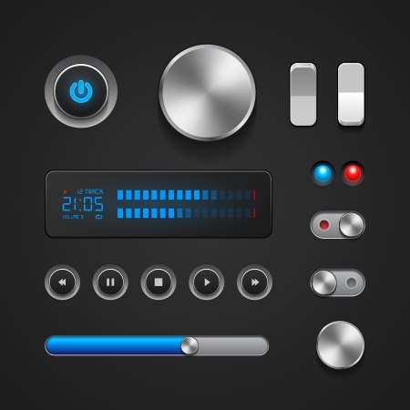 video player: Hi-End User Interface Elements  Buttons, Switchers, On, Off, Player, Audio, Video  Play, Stop, Next, Pause, Volume, Equalizer, Power, Screen, Track Illustration