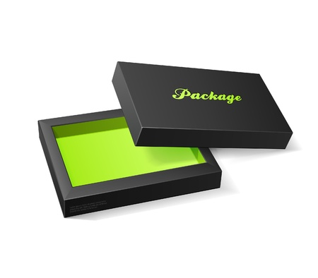 3D Modern Candy Open Box, Black And Green