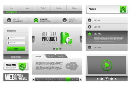 Modern Clean Website Design Elements Grey Green Gray 3  Buttons, Form, Slider, Scroll, Carousel, Icons, Menu, Navigation Bar, Download, Pagination, Video, Player, Tab, Accordion, Search Illustration