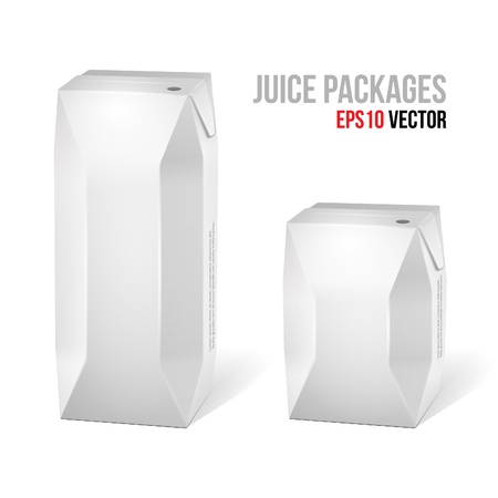 carton: Two Juice Carton Packages Blank White Version Illustration