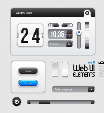 Web UI Elements Design Gray Blue  Part 5 Vector