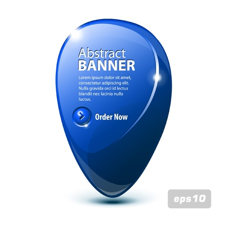 Abstract Shiny Glass Banner Blue With Button Order Now Vector
