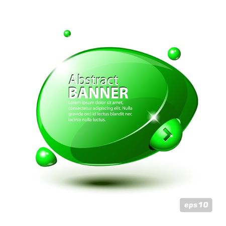 Abstract Shiny Glass Banner Green Horizontal With Button Order Now Vector