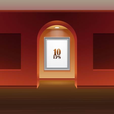archway: Picture On The Wall With Light And Archway In Gallery Red  Illustration