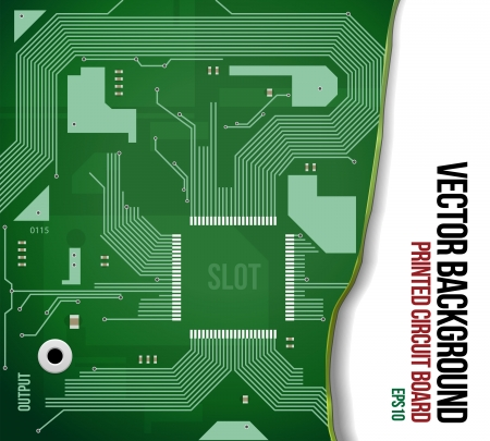 Printed Circuit Board Background Green  Vector