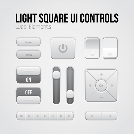 Light Square UI Controls Web Elements: Buttons, Switchers, On, Off, Player, Audio, Video: Play, Stop, Next, Pause, Volume, Equalizer, Arrows Vector