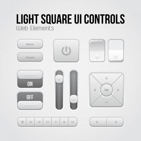 player controls: Luz Plaza de la interfaz de usuario Controles de elementos web: botones, conmutadores, On, Off, Player, Audio, Video: Play, Stop, Pause Siguiente, volumen, ecualizador, flechas Vectores