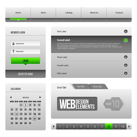 webpages: Modern Clean Website Design Elements Grey Green Gray 3: Buttons, Form, Slider, Scroll, Carousel, Icons, Menu, Navigation Bar, Download, Pagination, Video, Player, Tab, Accordion, Search,