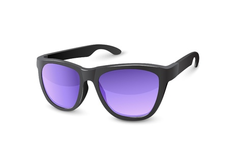 Stylish Black Sun Glasses With Violet Lenses Vector