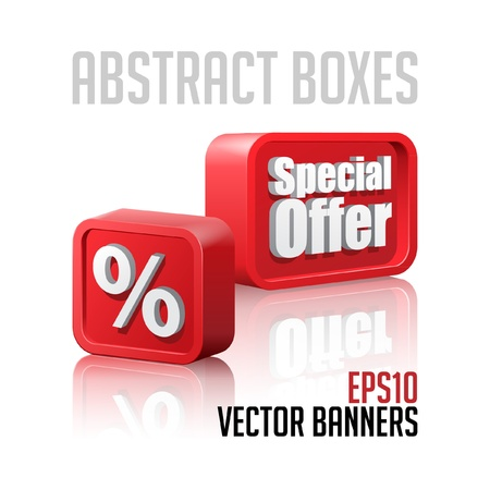 3D Plastic Abstract Banners Set Red Vector