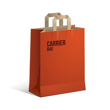 carry bag: Carrier Paper Recycle Bag Brown And Red Empty